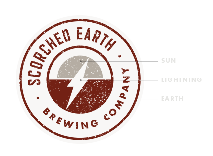 Scorched Earth Brewing logo explained